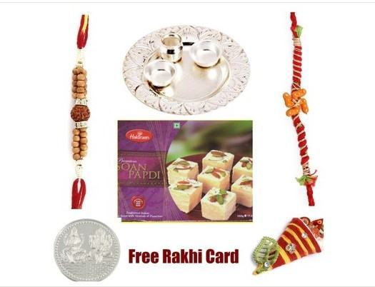 2 Rakhi Silver Thali with Haldiram Soan Papadi