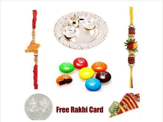 2 Rakhi Silver Thali  M&M Milk Chocolates