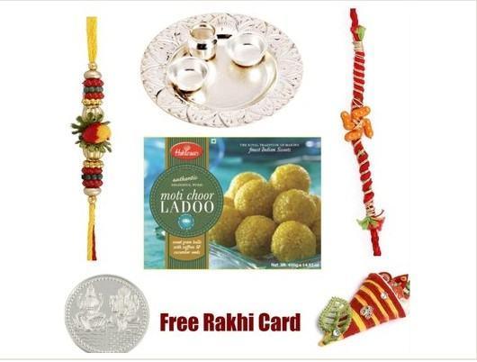 2 Rakhi, Silver Thali with Haldiram Motichoor Ladoo