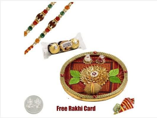 Rakhi Thali with 2 Rakhis and Chocolates