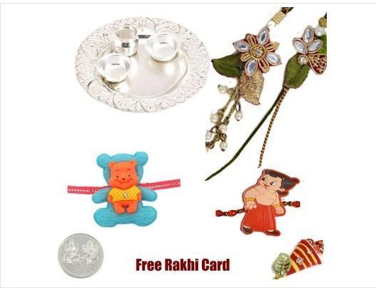 Rakhi Silver Thali with family set