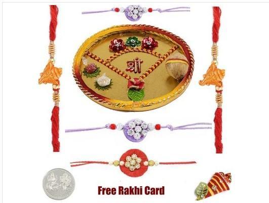 5 Rakhi with  religious rakhi thali
