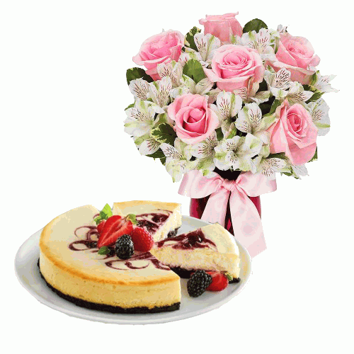 6 Pink Roses with Berry Cheesecake