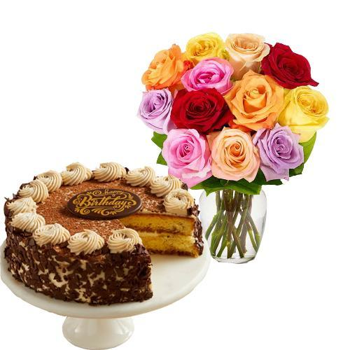 12 Mix Roses with Tiramisu Cake