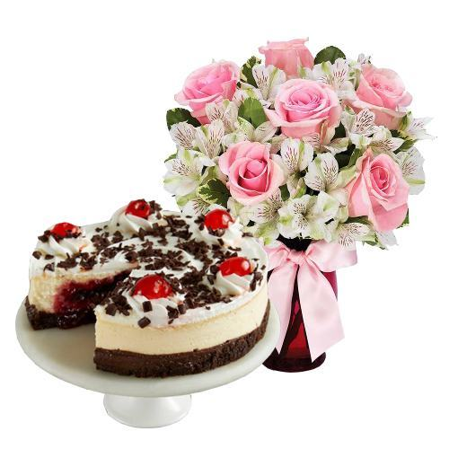 6 Pink Roses with Black Forest Cheesecake