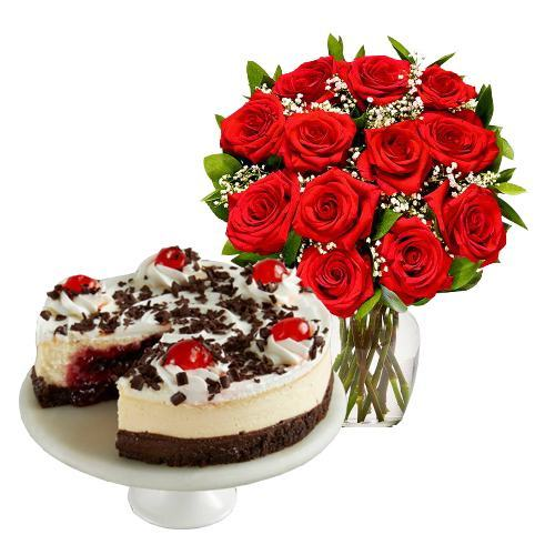 12  Red Roses with Black Forest Cheesecake
