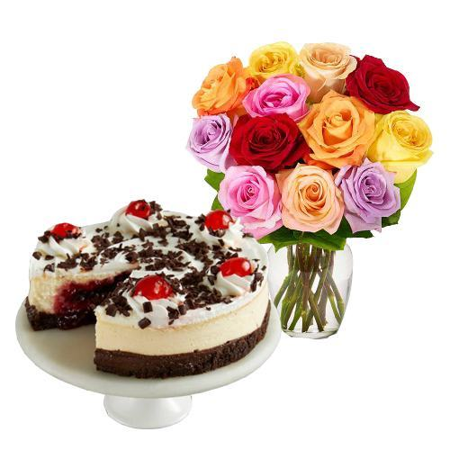 12 Mix Roses with Black Forest Cheesecake