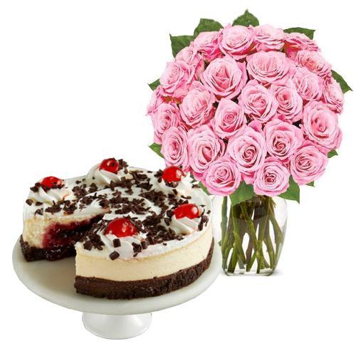 24 Pink Rose with Black Forest Cheesecake