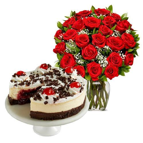 24  Red Roses with Black Forest Cheesecake