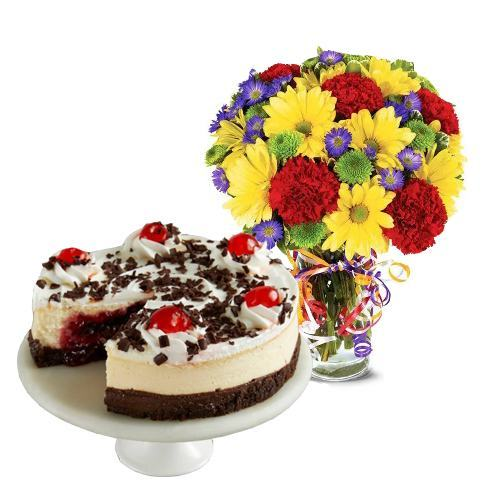Best Wishes Bouquet with Black Forest Cheesecake