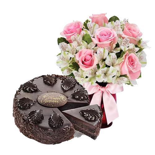 6 Pink Roses with Chocolate Mousse Cake