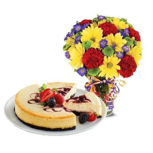 Best Wishes Bouquet with Berry Chocolate Cheesecake