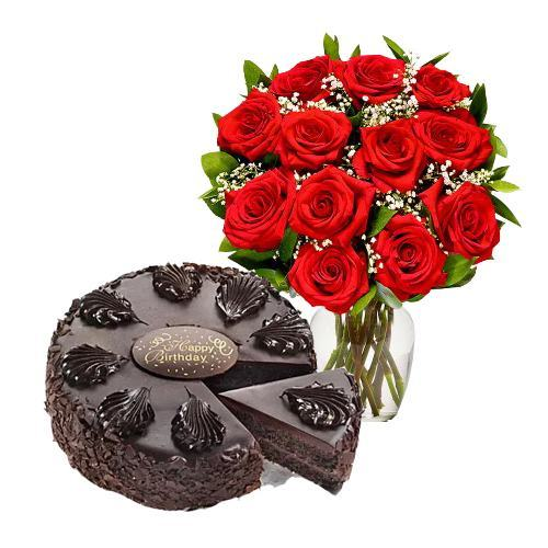 12 Red Roses with Chocolate Mousse Cake
