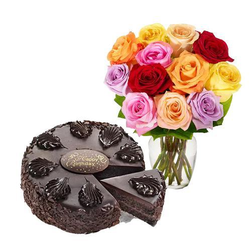 12 Mix Roses with Chocolate Mousse Cake