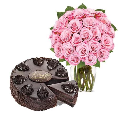 24 Pink Rose with Cake