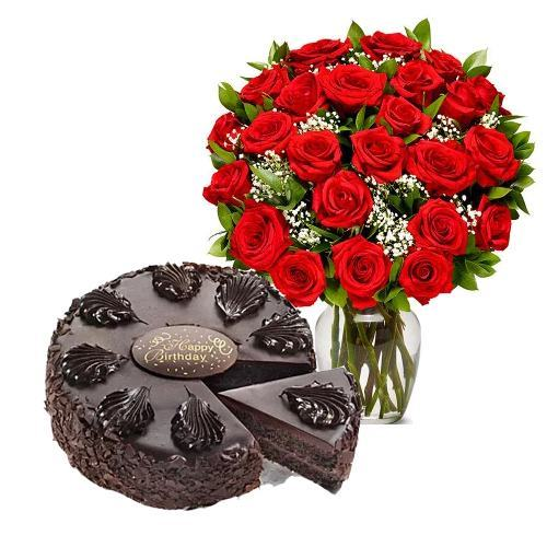 24 Red Roses with Chocolate Mousse Cake