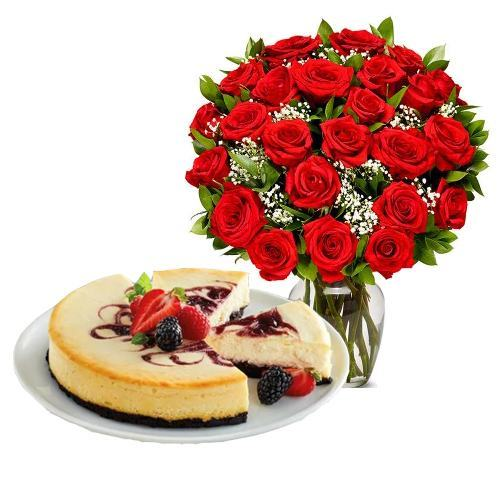 24  Red Roses with Berry Chocolate Cheesecake