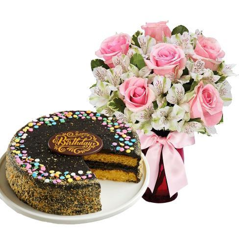6 Pink Roses with Golden Fudge Cake