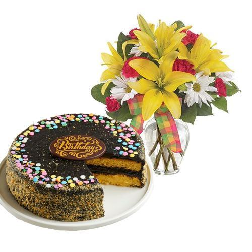 Mix Flowers with Golden Fudge Cake