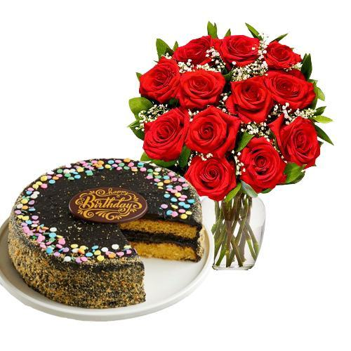 12 Red Roses with Golden Fudge Cake