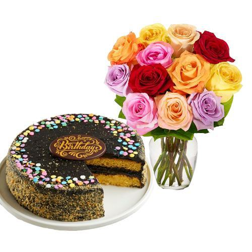 12 Mix Roses with Golden Fudge Cake