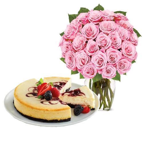 24 Pink Rose with Berry Chocolate Cheesecake