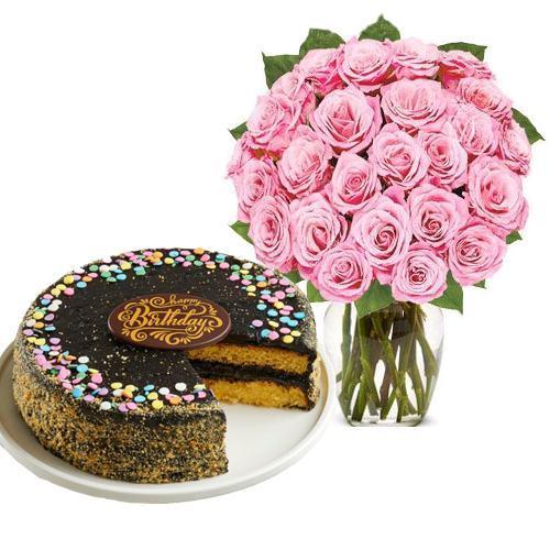24 Pink Rose with Golden Fudge Cake