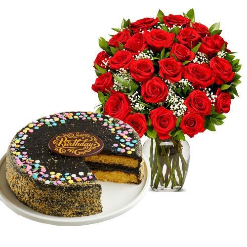 24 Red Roses with Golden Fudge Cake