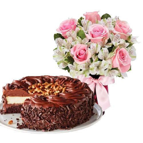 6 Pink Roses with Dark Chocolate Cake