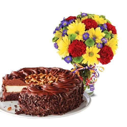 Best Wishes Bouquet with Dark Chocolate Cake