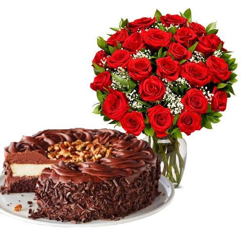 24  Red Roses with Dark Chocolate Cake