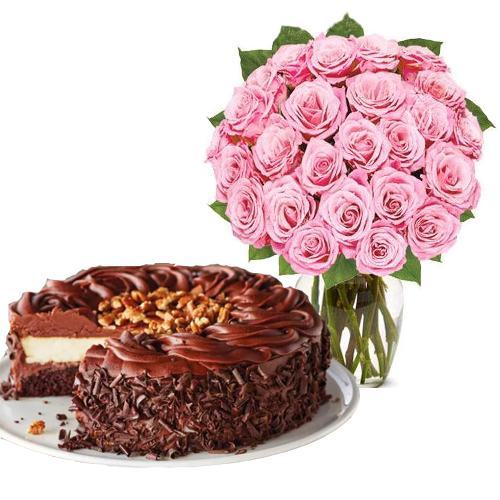 24 Pink Rose with Dark Chocolate Cake