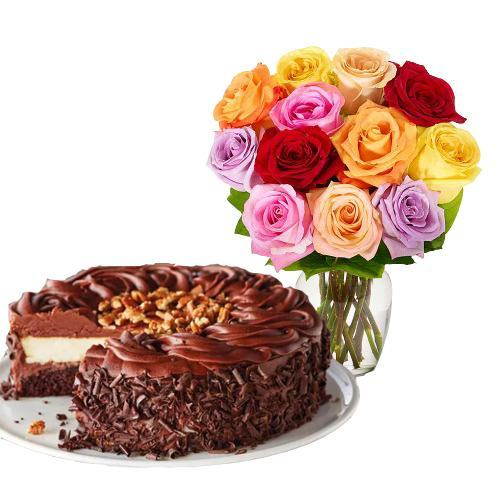 12 Mix Roses with Dark Chocolate Cake