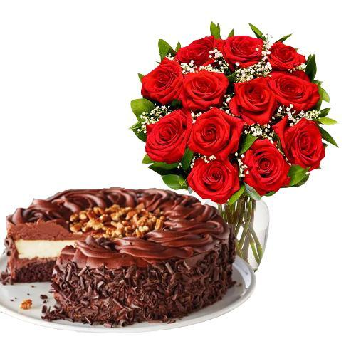 12 Red Roses with Dark Chocolate Cake