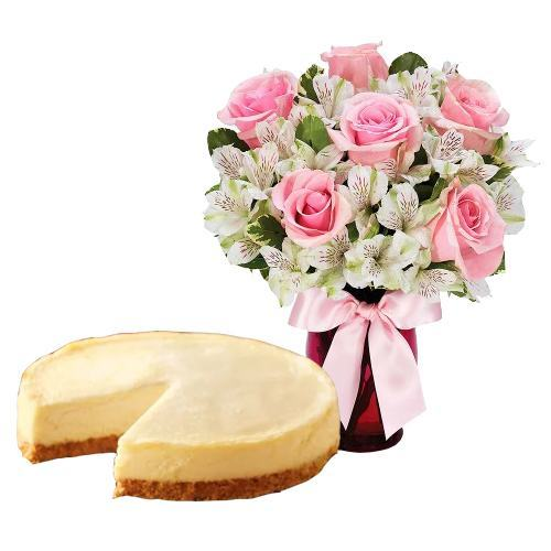 6 Pink Roses with Cheesecake