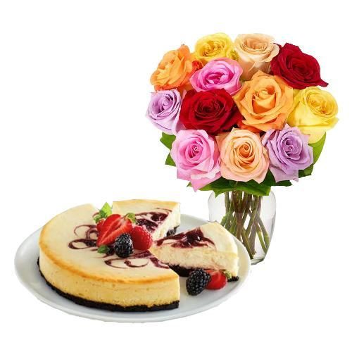 12 Mix Roses with Berry Chocolate Cheesecake
