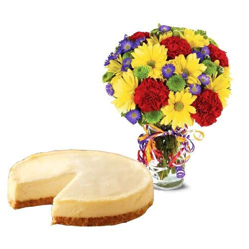 Best Wishes Bouquet with Cheesecake