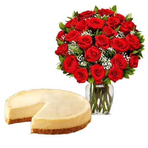 24  Red Roses with Cheesecake