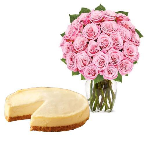 24 Pink Rose with Cheesecake