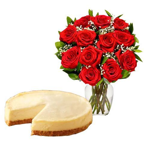 12 Red Roses with Cheesecake
