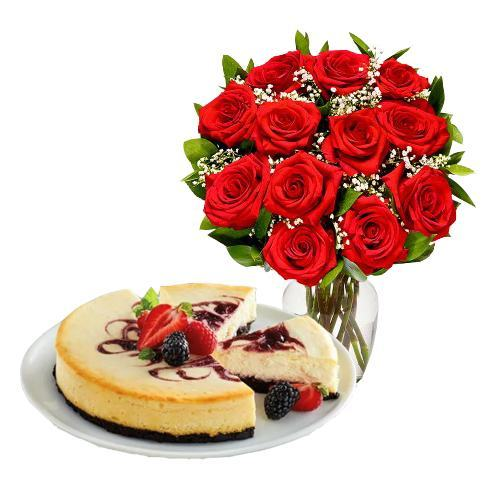 12 Red Roses with Berry Chocolate Cheesecake
