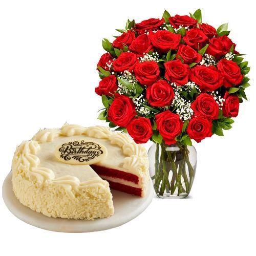 24 Red Roses with Red Velvet Cake