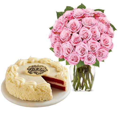 24 Pink Rose with Red Velvet Cake
