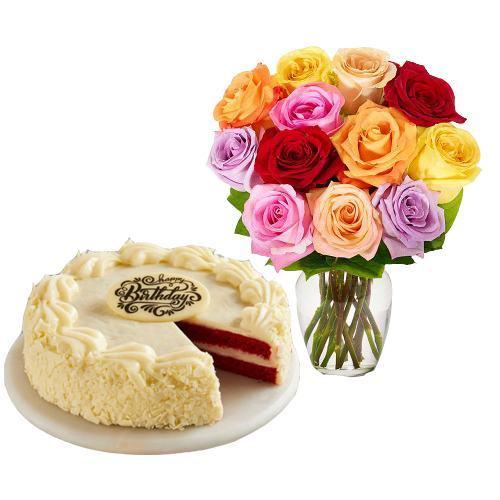 12  Roses with Red Velvet Cake