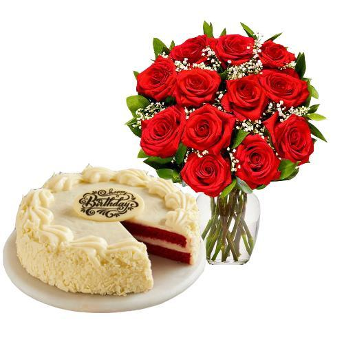 12 Long Stemmed Red Roses with Cake