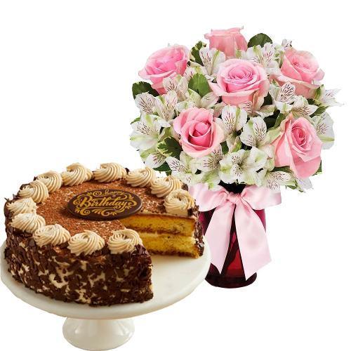 6 Pink Roses with Tiramisu Cake