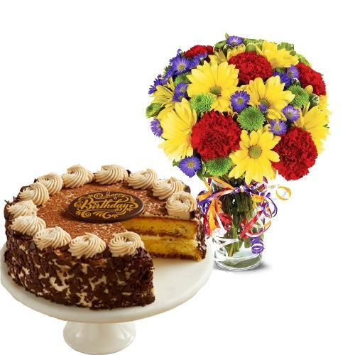 Best Wishes Bouquet with 7 inches Cake