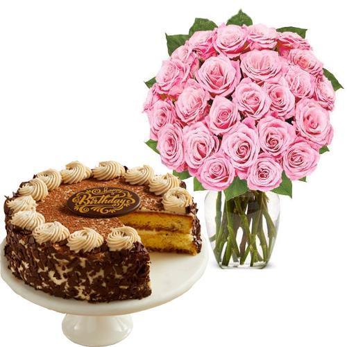 24 Pink Rose with Tiramisu Cake
