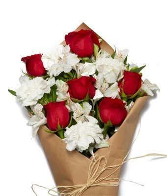 Farm Fresh Red & White Blooms Bouquet