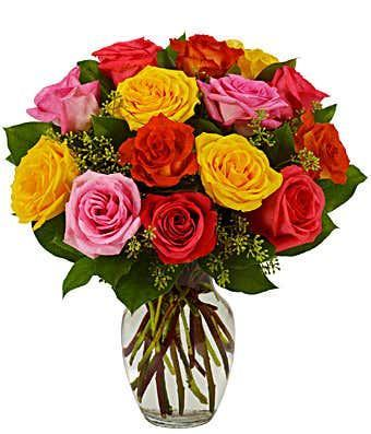 Assorted & Beautiful Bright Roses Bouquet